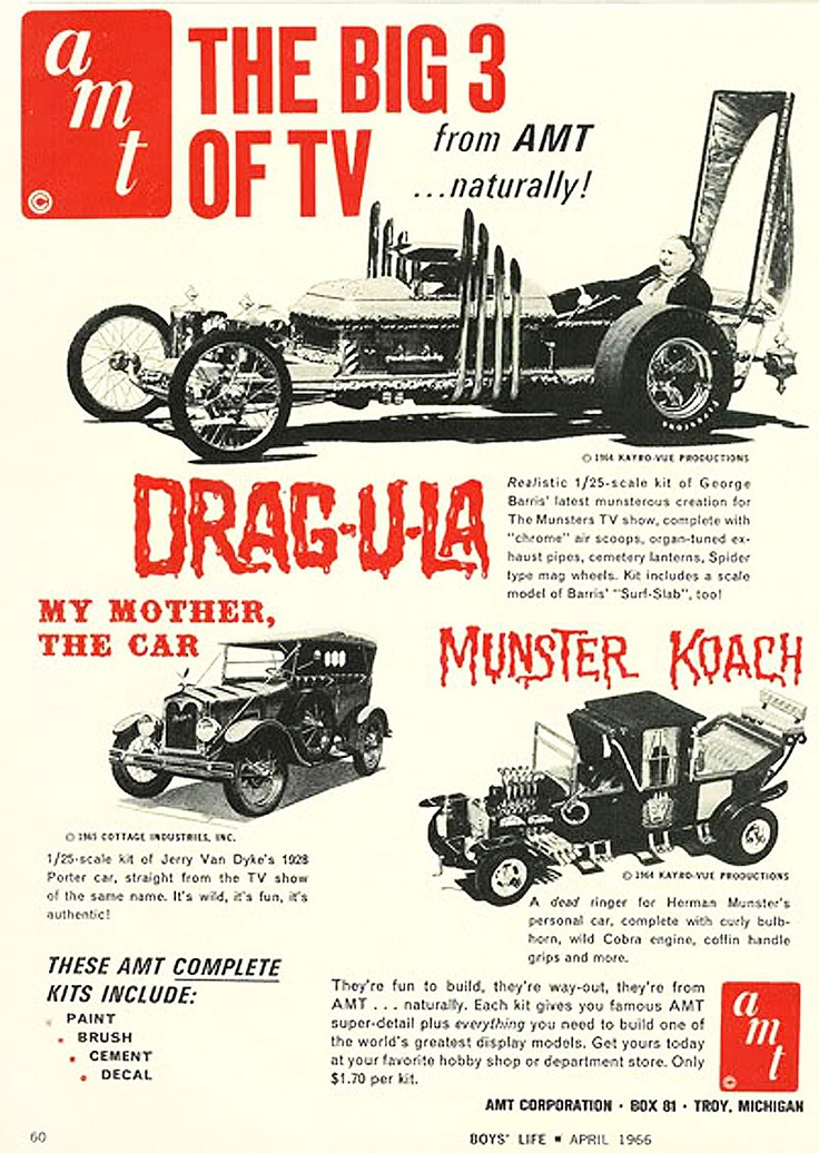 1960s Munsters model cars ad, model cars were a big deal for me back in the 60's