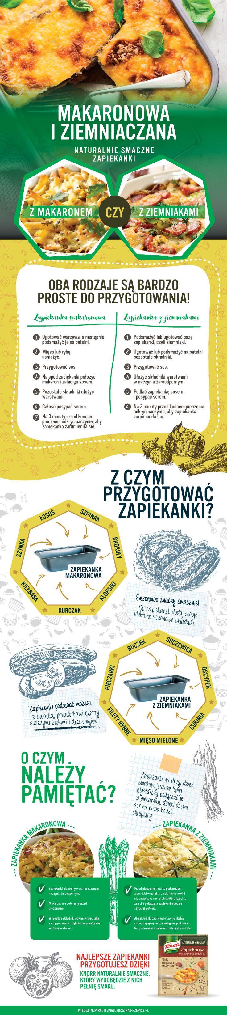 Makaronowa i ziemniaczana zapiekanka - infografika #pasta #infografika #cooking