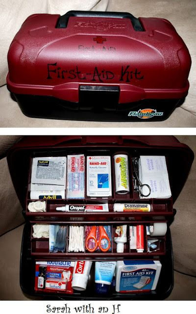 First aid kit.  This is great!  We have first aid kits in the cars but never thought to have a complete kit at home that you can just grab and have everything handy.