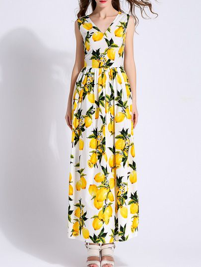 Shop White V Neck Lemons Print Maxi Dress at victoriaswing, personal womens clothing online store! high quality, cheap and big discount, latest fashional style!