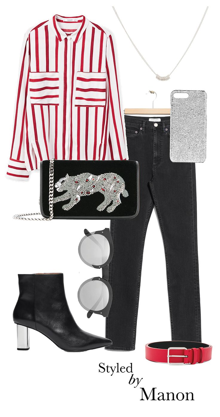 Stripped blouse, black skinny jeans, statement bag & ankle boots and sunglasses - Styled By Manon