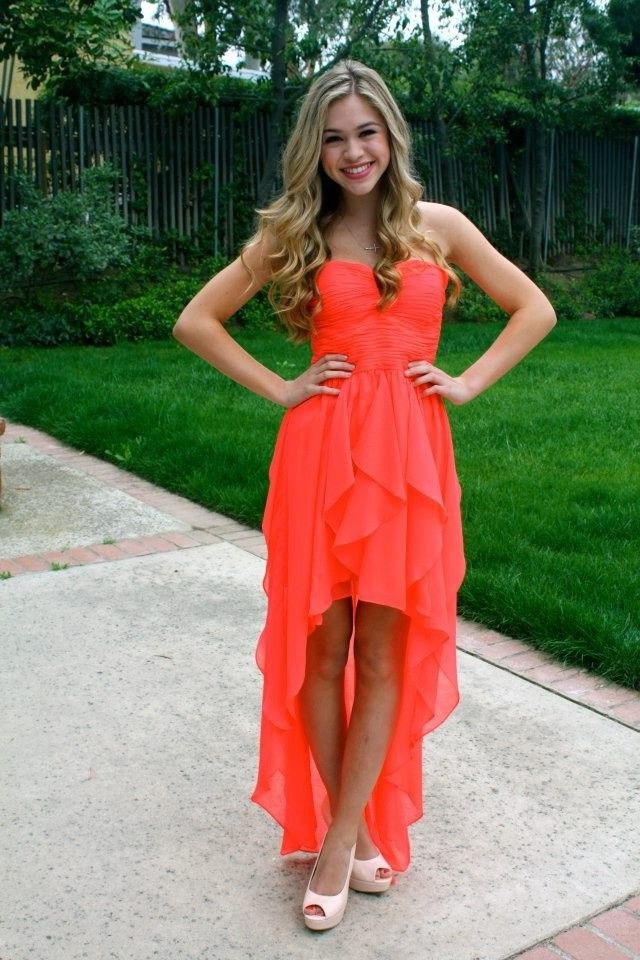 Cute High Low Strapless Neon Coral Chiffon Ruffle Party Prom Dress