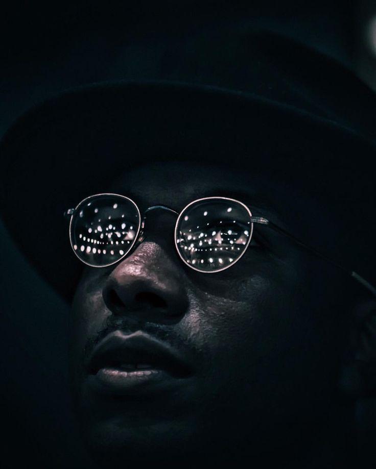 Black man . Night lights . Portrait Photography