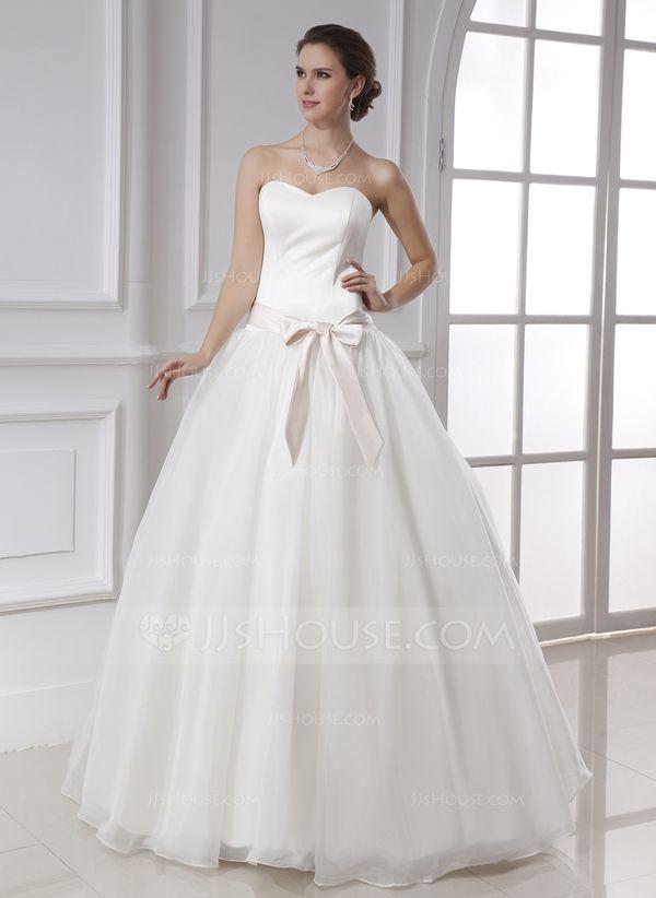 Ball-Gown Sweetheart Floor-Length Organza Satin Wedding Dress With Sash Bow(s) (002015478)