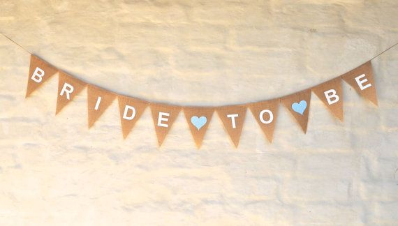11 LARGE hessian flags, screen printed and spelling: (heart) BRIDE(heart)TO(heart)BE  WHITE, RED, PINK heart, WHITE text   Each flag is 17cm x