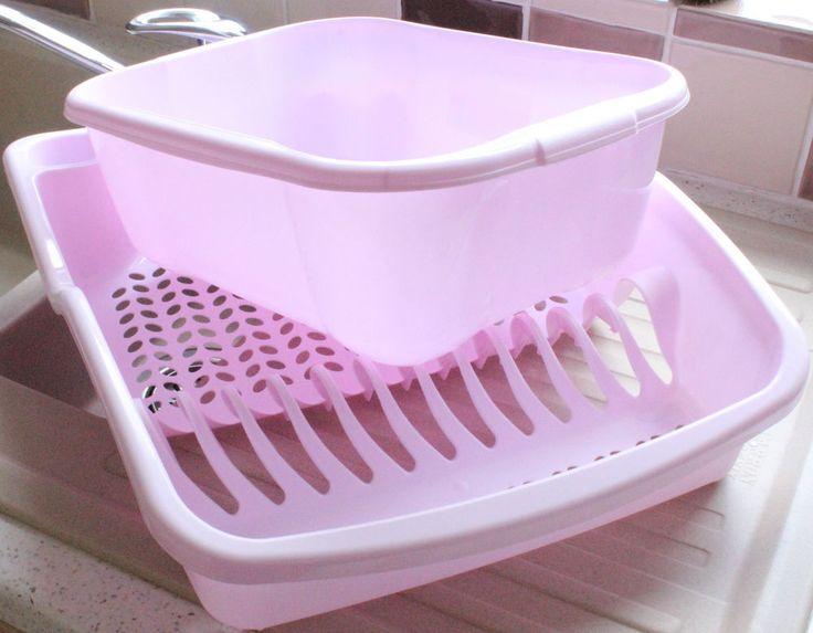 New Pastel Pink Plastic Dish Drainer Amp Washing Up Bowl