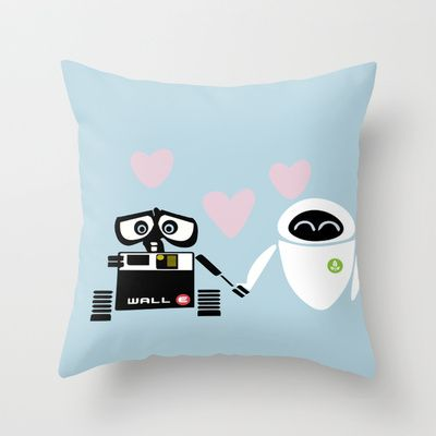 pixar walle and eve love and romance... minimalistic Throw Pillow by studiomarshallarts - $20.00