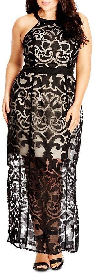 Plus Size Burnout Maxi Dress