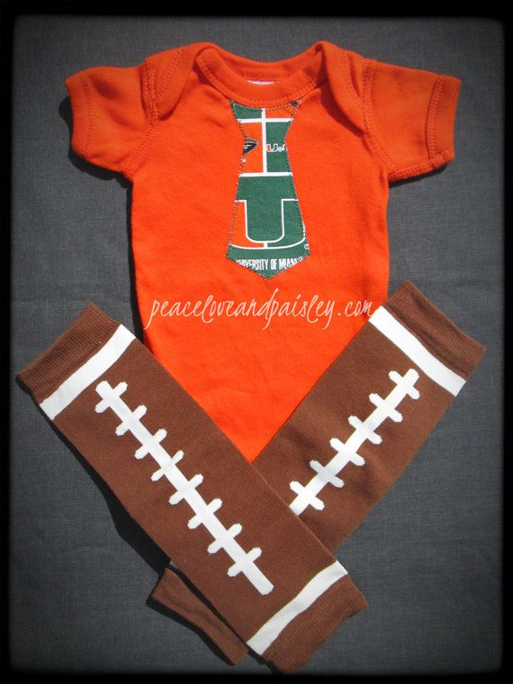 Ready to Ship - Hurricanes Necktie Onesie Made from University of Miami Fabric with Free Legwarmers