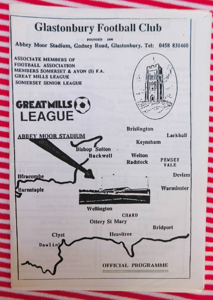 Old Football programme covering TWO matches played the same weekend Glastonbury v Dawlish Town 23 4 94 Glastonbury v Brislington 24 4