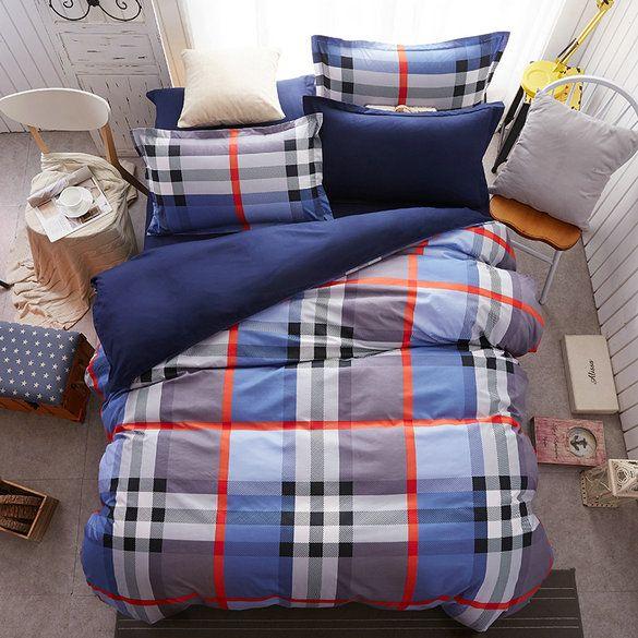 Modré posteľné obliečky s károvaným vzorom