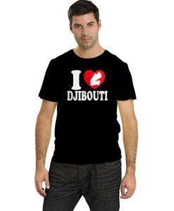 Men's I Love Djibouti Map T-Shirt Black