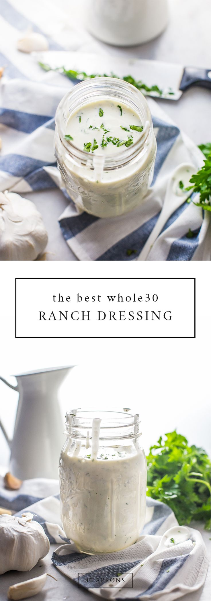 The best Whole30 ranch dressing. Garlicky with fresh herbs, it's the best paleo ranch dressing out there!