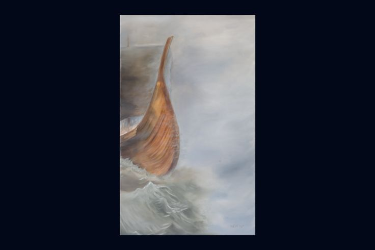 """""""In search for a lost time"""". 700$ Original oil-painting by Sindre Ekrheim Mosand.  This painting gives a feeling of historical breath and sentimentality. This viking ship is sailing into the fog at sea and it symbolises an era or age that has vanished. The lights on board the ship is all the knowledge about this great vessels and now all that has gone. Impossible to recreate."""
