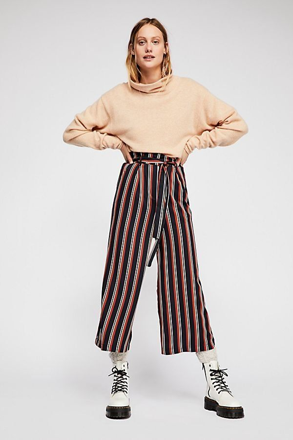 fe8f07895be Stripe Culotte Pants - Red and Black High Waisted Striped Culottes with Tie  Waist - Wide Leg Pants - High Waisted Pants - Flowy Pants - Striped Pants