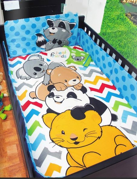 Set De Edredon Para Cuna De Bebe Best Friends Gato Panda Oso - $ 1,249.00