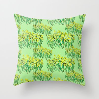 Lime green wattle print Throw Pillow by Arabella India - $20.00