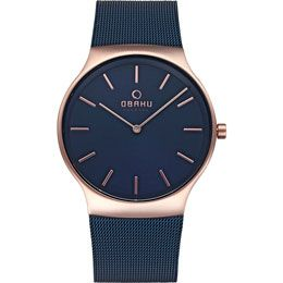 OBAKU Rolig - ocean // rose gold and blue stainless steel watch