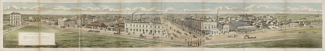 De Gruchy and Leigh   Panoramic view of Melbourne, Victoria 1863  lithograph and watercolour  27.6 x 180.1 cm (image)  The University of Melbourne Art Collection. Gift of the Russell and Mab Grimwade Bequest 1973