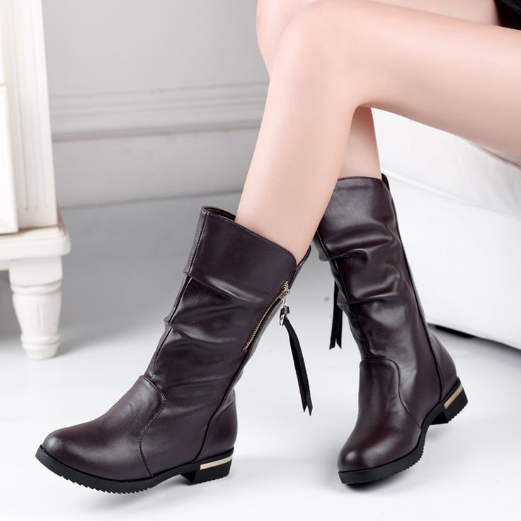 2016 Winter Boots Botas Mujer Big Size 34-42 New Round Toe Buckle Boots For Women Casual Fashion Warm Winter Shoes 756-1