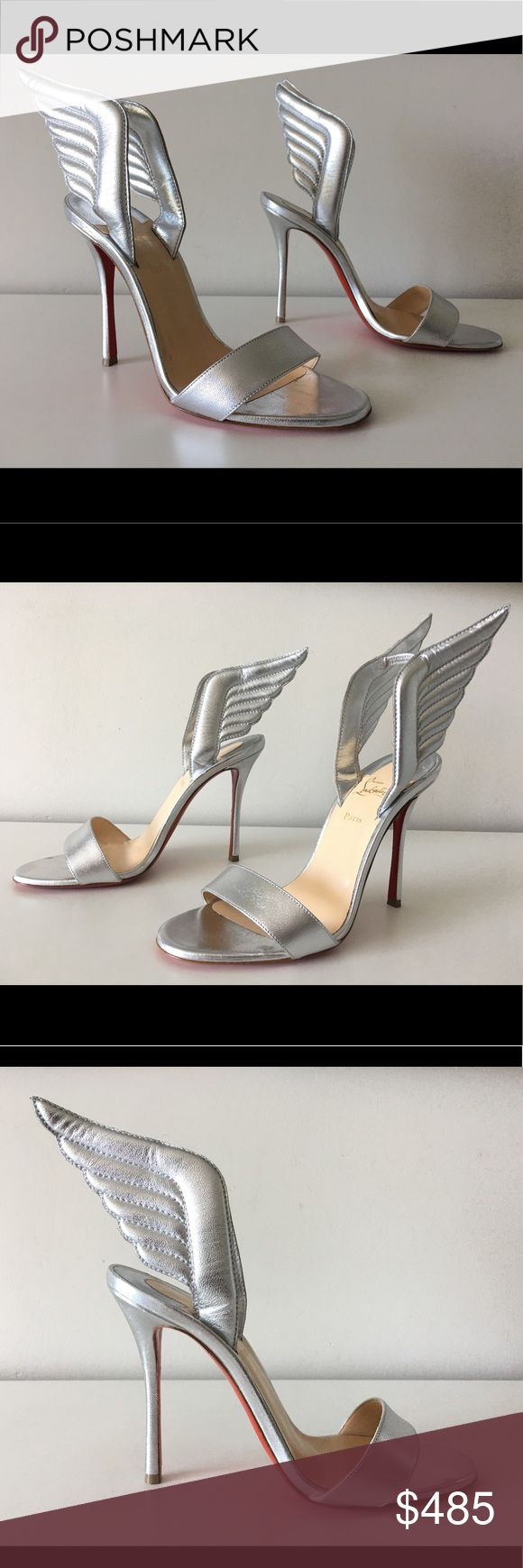 "CHRISTIAN LOUBOUTIN SAMOTRESSE 100mm WING SANDALS Christian Louboutin Samotresse 100mm Wing  -Condition: Brand New Store Display Shoes + Dust Bag. -Size: EU 38 (Insoles measure 9.5 inches long). -Color: Silver. -Model: Samotresse 100mm. -Metallic Leather Upper. -Covered heel measures: 4""(100mm). -Strap bands open toe. -3D wings with stretch inset. -Slip-on style. -Signature red leather sole. -""Samotresse"" is made in Italy. -Retails for $895.00 -Same Day Shipping. Christian Louboutin Shoes…"