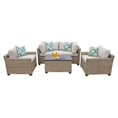 TK Classics Monterey Wicker 5 Piece Patio Conversation Set with Club Chair and 2 Sets of Cushion Covers | Hayneedle