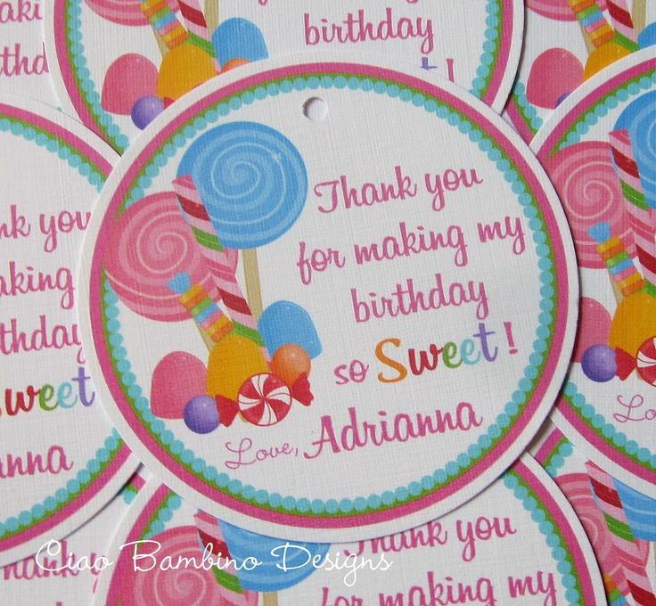 Sweet Shoppe Lollipop Birthday Party Favor Tags. $6.00, via Etsy.