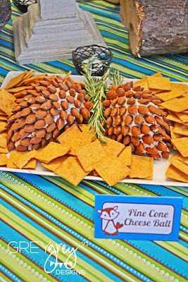Forrest Friends Food Ideas: Pine Cone Cheese Ball for a woodland or fox themed party