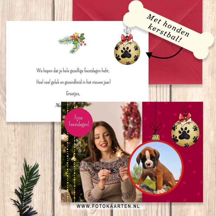 Veel mensen gebruiken hun hond op de kerstkaart, daarom hebben we voor alle hondenliefhebbers een hondenkerstbal gemaakt. Gebruik een kerstbal foto omlijsting voor je eigen foto en 'hang' ze op je kaartje.