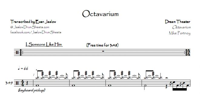"Drum tab sheet music transcription for ""Octavarium"" by Dream Theater. Taken from the 2005 album Octavarium. Notation key included. Progressive metal. Difficulty 5/5. #drums #drumsheetmusic #dreamtheater   #mikeportnoy"