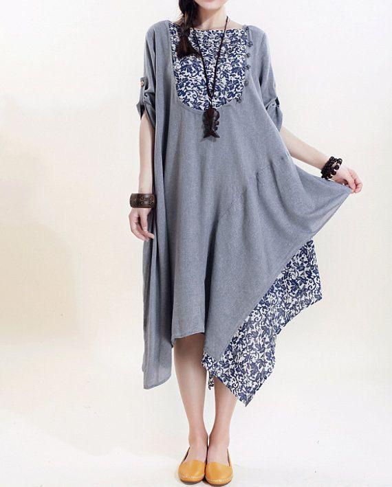 Women Cotton Long Dress Loose Asymm