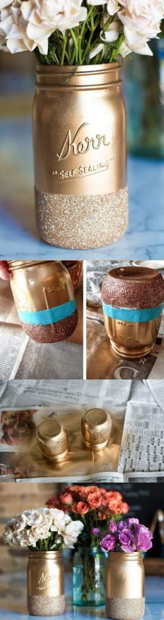 Super simple DIY glitter dipped mason jars, perfect for adding a little more sparkle during the holidays | Do It Yourself | DIY Projects