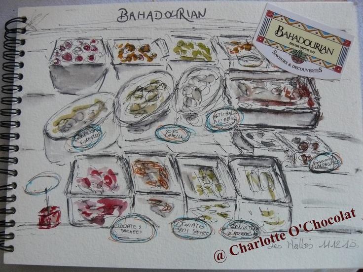 Croquis des étals de Bahadourian (épicerie fine) - Les Halles de Lyon from Charlotte O' Chocolat