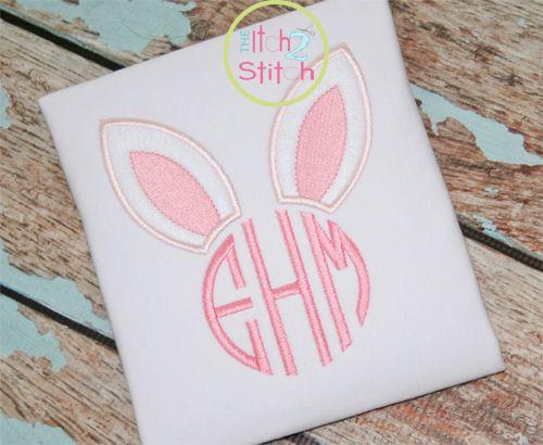 Bunny Ears Monogram Applique