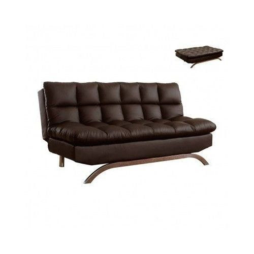 Modern Luxury Quality Leather Futon Sofa Bed Chair Lounge Loveseat Home  Office Bedroom Living Room Furniture Brown