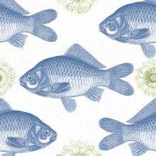 Tapet designer Seaside Fish Blue, MINDTHEGAP