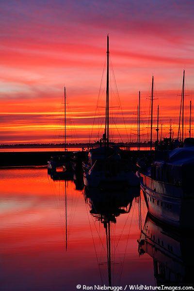 Chula Vista Marina at sunset, Chula Vista, California