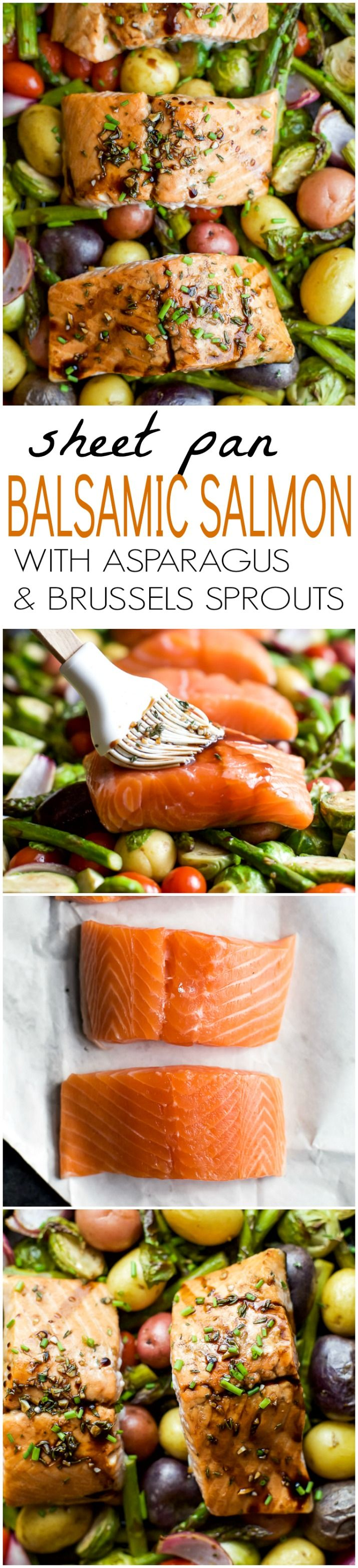 Sheet Pan Balsamic Salmon on a bed of potatoes, asparagus, and brussels sprouts! An easy healthy meal done in 30 minutes and full of bold flavors you'll love! | joyfulhealthyeats.com #paleo #glutenfree