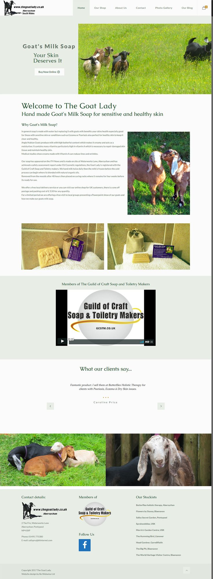 Ecommerce website for Goats milk soap