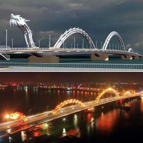 Amazing bridge in Danang Vietnam. Sinds 2009 is de Dragon Bridge geopend. Deze brug wordt in verschillende kleuren verlicht en spuwt iedere avond om 21.00 uur echt vuur. De brug is er ter gelegenheid van zowel de rijke geschiedenis van het land en de 38ste verjaardag van het einde van de oorlog in Vietnam. #3TBBC #NHTV