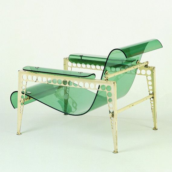 Jean Prouvé & Jacques André, Acrylic Glass and Varnished Sheet Metal Prototype Garden Chair by Ateliers Jean Prouvé, 1937.