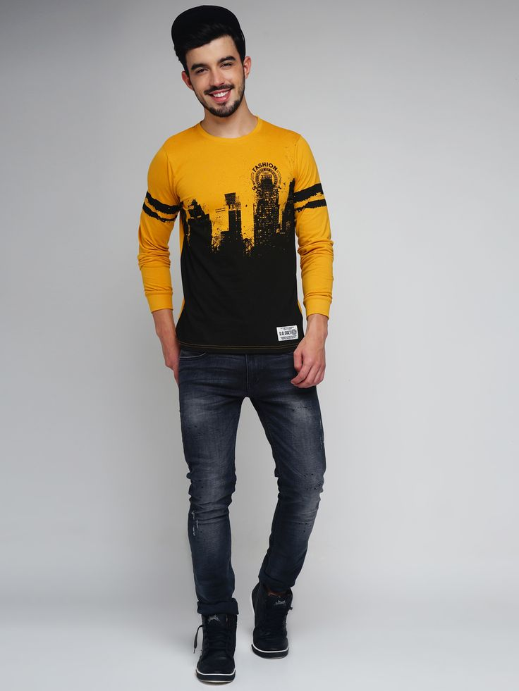 Difference of Opinion #Mustard #Yellow & #Black #Printed #Tshirt