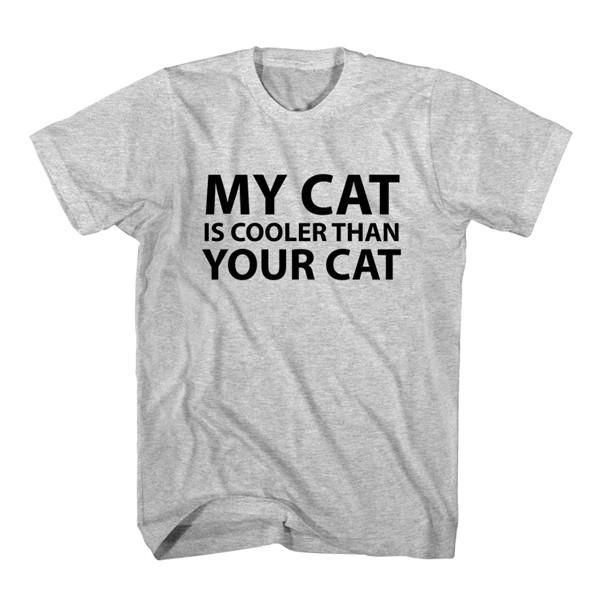 T-Shirt My Cat Is Cooler Than Your Cat unisex mens womens S, M, L, XL, 2XL color grey and white. Tumblr t-shirt free shipping USA and worldwide.