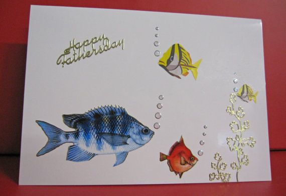 Handmade Card Happy Father's Day with Brightly Coloured Fish