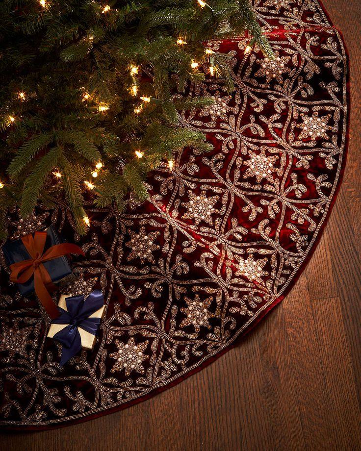 Burgundy & Gold Christmas Tree Skirt