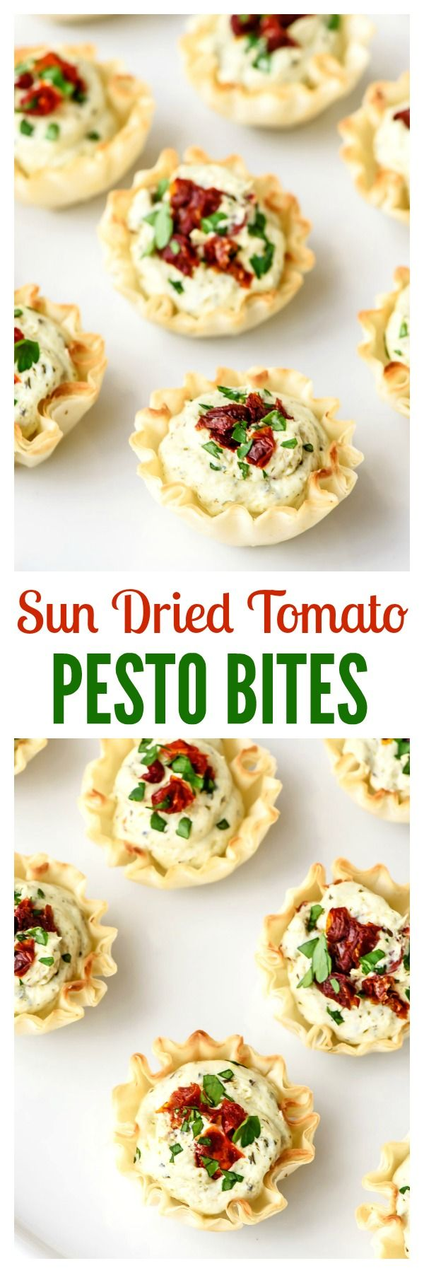 Skinny Sun Dried Tomato Pesto Bites are the perfect Christmas appetizer! Flakey phyllo dough with cream cheese pesto filling. Quick and easy to make, everyone loves them, and they are even red and green.