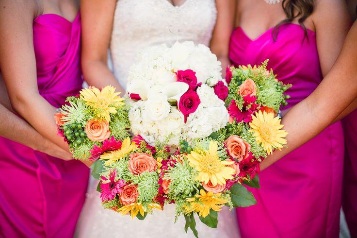 Begonia pink bridesmaid dresses - Pink, yellow, fuchsia bouquets -  Oldani Photography