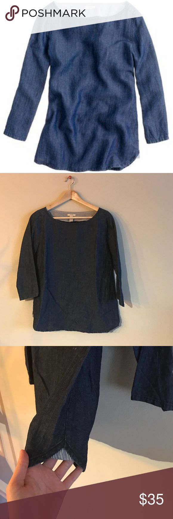 Chambray Top Great condition, I love this top but it doesn't fit me anymore! It's been sitting in storage and would be happy to go to a new home. i've only worn it twice. J. Crew Tops