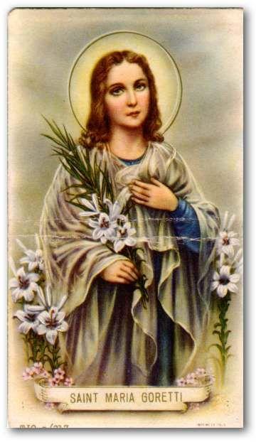 Santa Maria Teresa Goretti Nascita Corinaldo, 16 ottobre 1890 Morte Nettuno, 6 luglio 1902 Vittima di omicidio a seguito di un tentativo di stupro da parte di un vicino di casa, fu canonizzata nel 1950 da papa Pio XII.