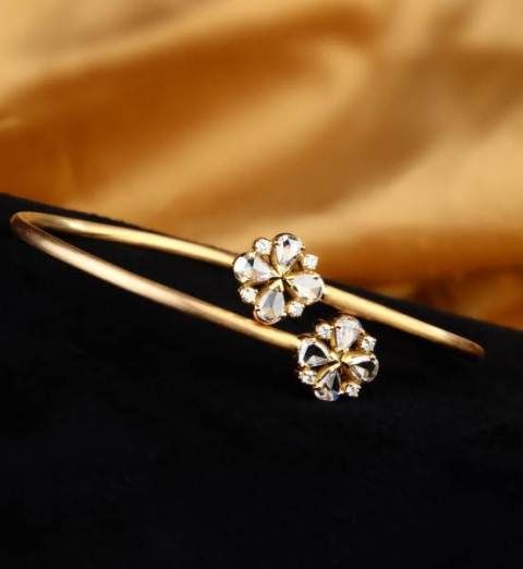 Rose-Cut Diamond Flowers Bracelet - A pair of rose-cut diamond flowers wrap around the wrist in a delicate 18k gold embrace.